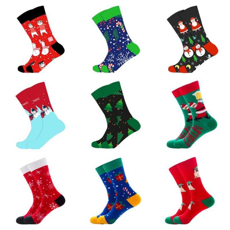 Хлопковые мужские и женские носки Harajuku, цветные веселые рождественские носки, Длинные Теплые повседневные носки для мужчин, подарок на свадьбу, новинка