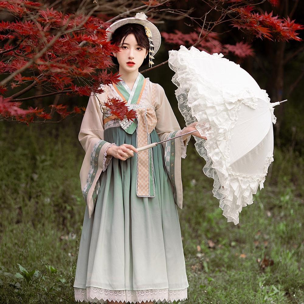 Купить японское платье лолиты кружевное с бантом и высокой талией +