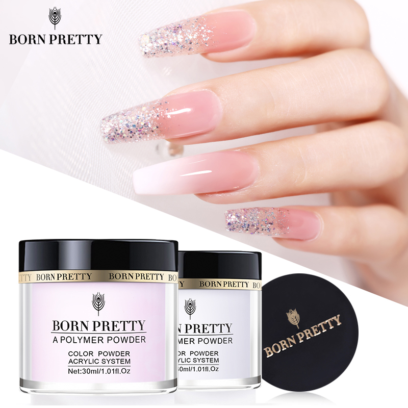 BORN PRETTY 30ml Acrylic Powder Carving Nail Polymer Tip Extension French Pink White Clear Adhesive Rhinestone Nail Art Powder