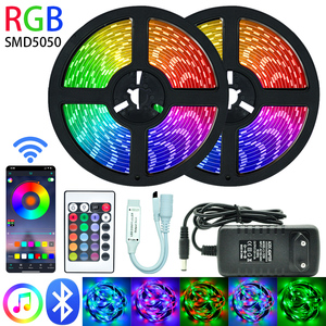 LED Strips Lights Bluetooth Luces Led RGB 5050 SMD 2835 Flexible Waterproof Tape Diode 5M 10M 15M DC 12V Remote control+ adapter