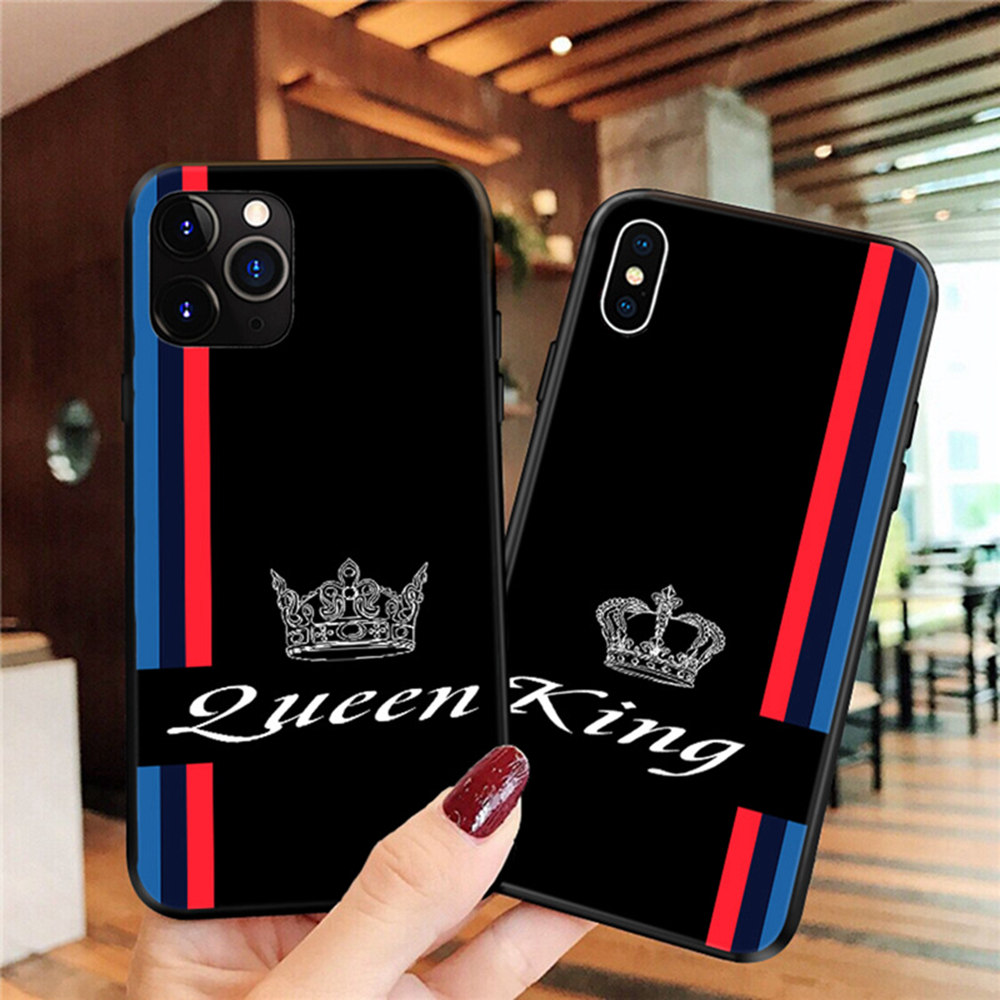 Coque Luxury Best Friends KING and QUEEN <font><b>Case</b></font> For <font><b>iPhone</b></font> XR X 11 Pro XS Max 5S 7 6S 8 Plus <font><b>BFF</b></font> Matching Couples TPU Phone Cover image