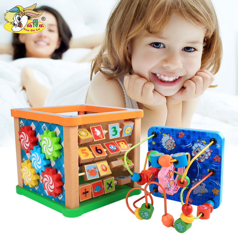 Young CHILDREN'S Wooden Multi-functional Educational Large Bead-stringing Toy Radiant Six-in-One Multi-Faceted Treasure Chest Ed