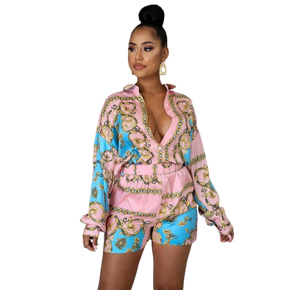 Женский костюм с геометрическим принтом OMILKA, комплект из 2 предметов, рубашка с длинным рукавом и шорты, Повседневная Уличная одежда в стиле ...