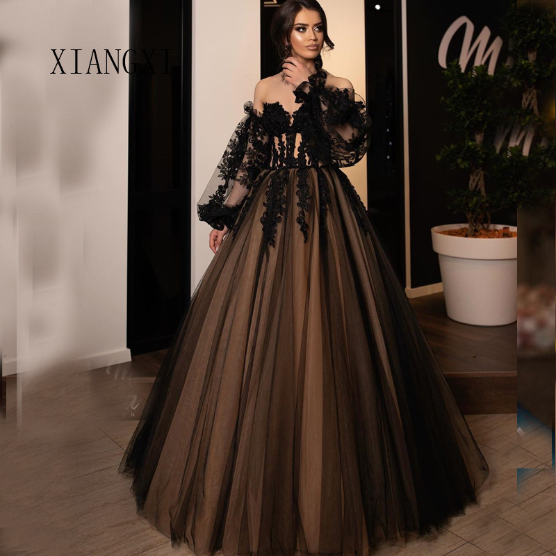 Charming Black Evening Dress Tulle A-Line Off The Shoulder Floor Length Formal Gowns Lace Evening Dresses Long Robe de soiree 20
