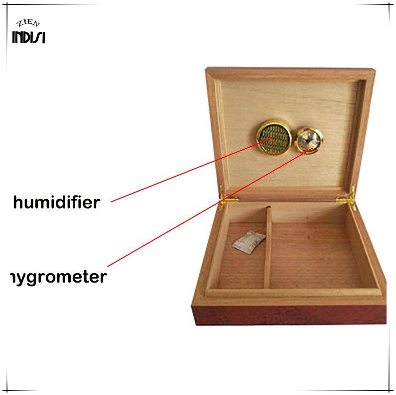 Madera de cedro viaje humidificador imanes higrómetro humidificador para Cohiba humidificador de puros caja de Navidad H 008 - 4