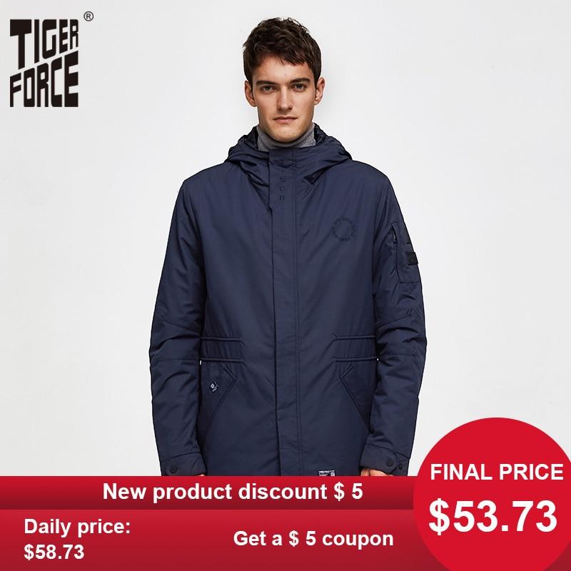 TIGER FORCE Men's Jacket Spring Double-layer Hooded Coat Cotton Padded Solid Jacket Men Medium-Long Casual Windbreaker Coat