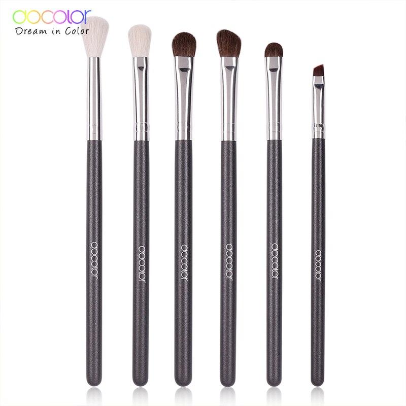 Docolor 6pcs Professional Makeup Brushes Natural Goat Hair Eye Shadow Blending Eyeliner Eyelash Eyebrow Makeup Brushes Set