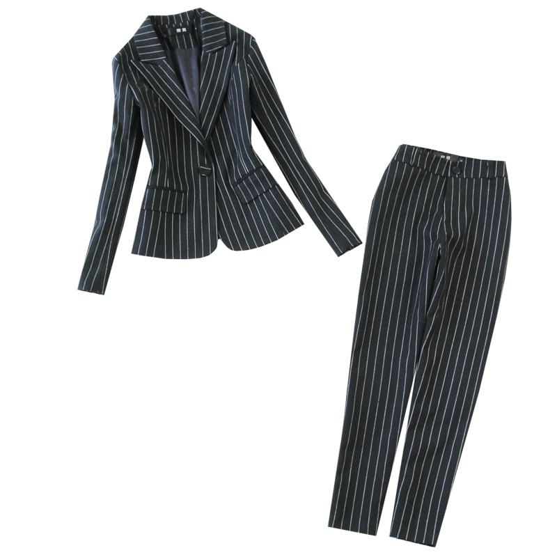 High Quality Winter Women's Suit Two-piece Suit 2019 New Temperament Large Size Striped Suit Female Office Slim Trouser Suit