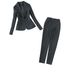 High quality winter women's suit two-piece suit 2019 new temperament large size striped suit female Office slim trouser suit цена