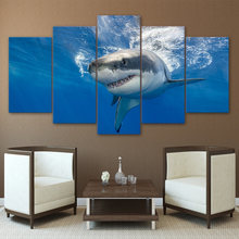 HD Canvas Wall Picture Modern Art 5 Pieces Blue Deep Sea Large Shark Kitchen Restaurant Decor Living Room Painting Printed Frame(China)