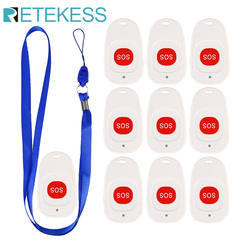 10pcs Retekess TH001 Emergency Call Button SOS Transmitter Wireless Call Bell Pager for the Elederly Clinic Patient