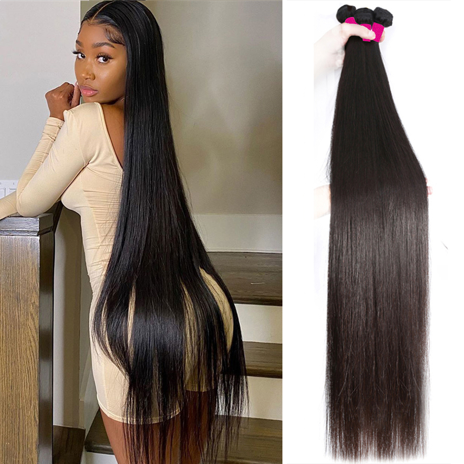 Straight Bundles Virgin Hair Bundles 40 Inch Long   Natural  Bundles  Bone Straight Hair 1