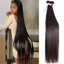 Прямые пряди натуральные волосы пряди 40 дюймов длинные бразильские Remy пряди натуральные человеческие волосы пряди для черный Для женщин ко...