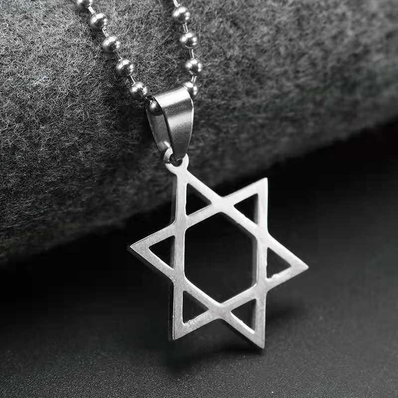 Colar com pingente hexagonal, colar com pingente de david, estrela, hexágono, fio preto, joias, preço de fábrica, 2020