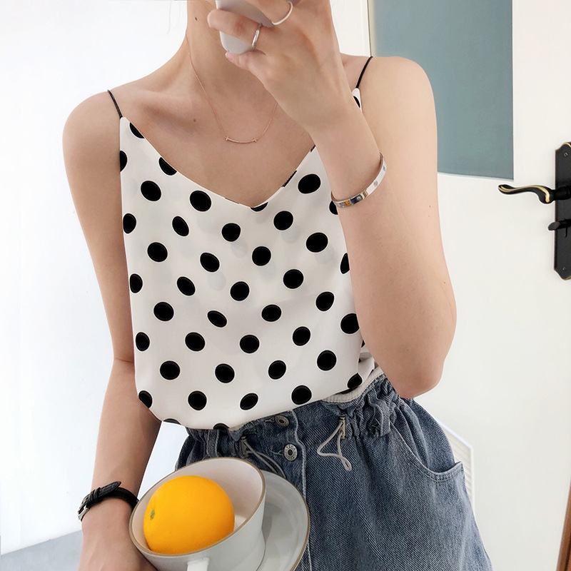 2020 Summer New Arrive Women Chiffon Casual Camis Sleeveless Polka Dot V-neck Straight Korean Top