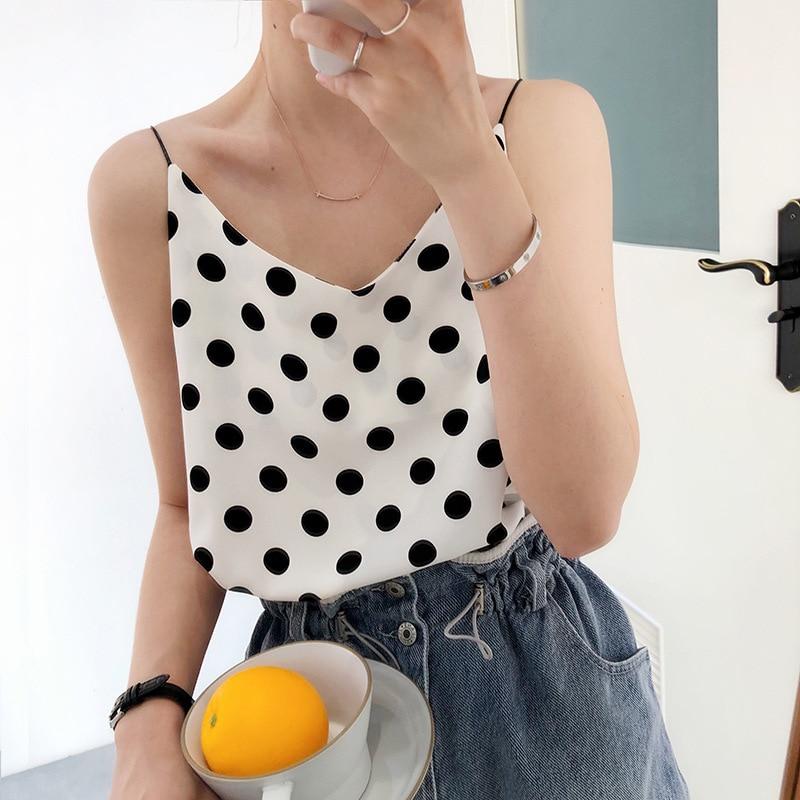 2020 Summer New Arrive Women Chiffon Casual Camis Sleeveless Polka Dot V-neck Straight Korean Top