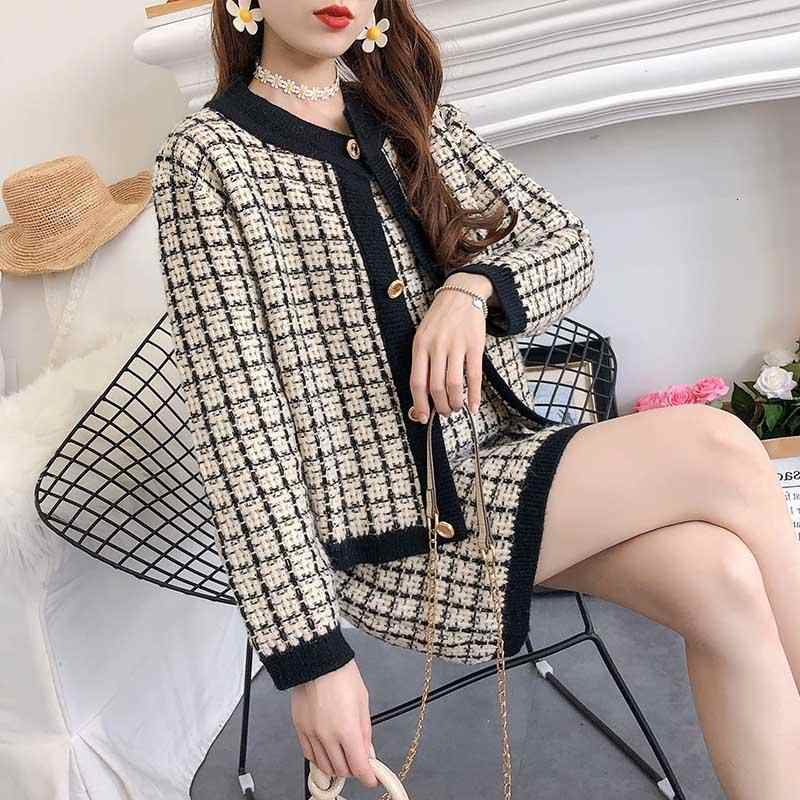 Women Knit Set Skirt Suits 2019 Autumn Long Sleeve Knitting Cardigan Sweater Coat Top And Plaid Pencil Skirt Two Piece Sets