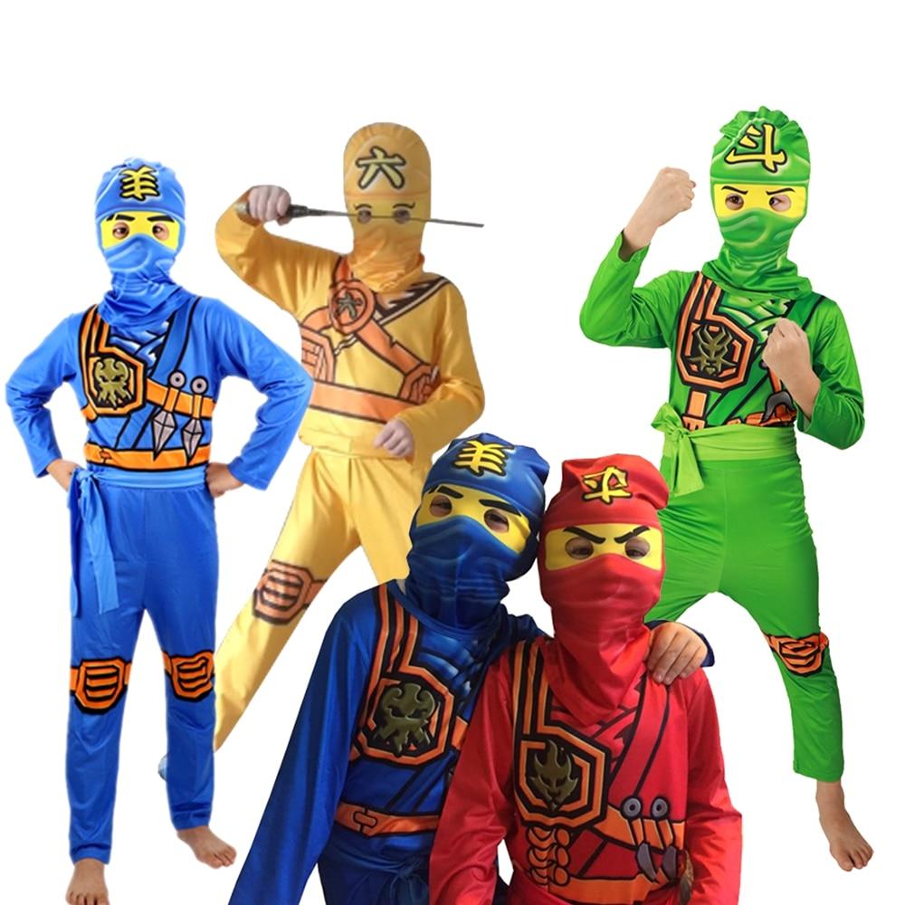LEGOO Ninjago Cosplay Costume Boys Ninja Clothes Set Children Kids Carnival Purim Party Dress Up Ninja Superhero Jumpsuit Mask