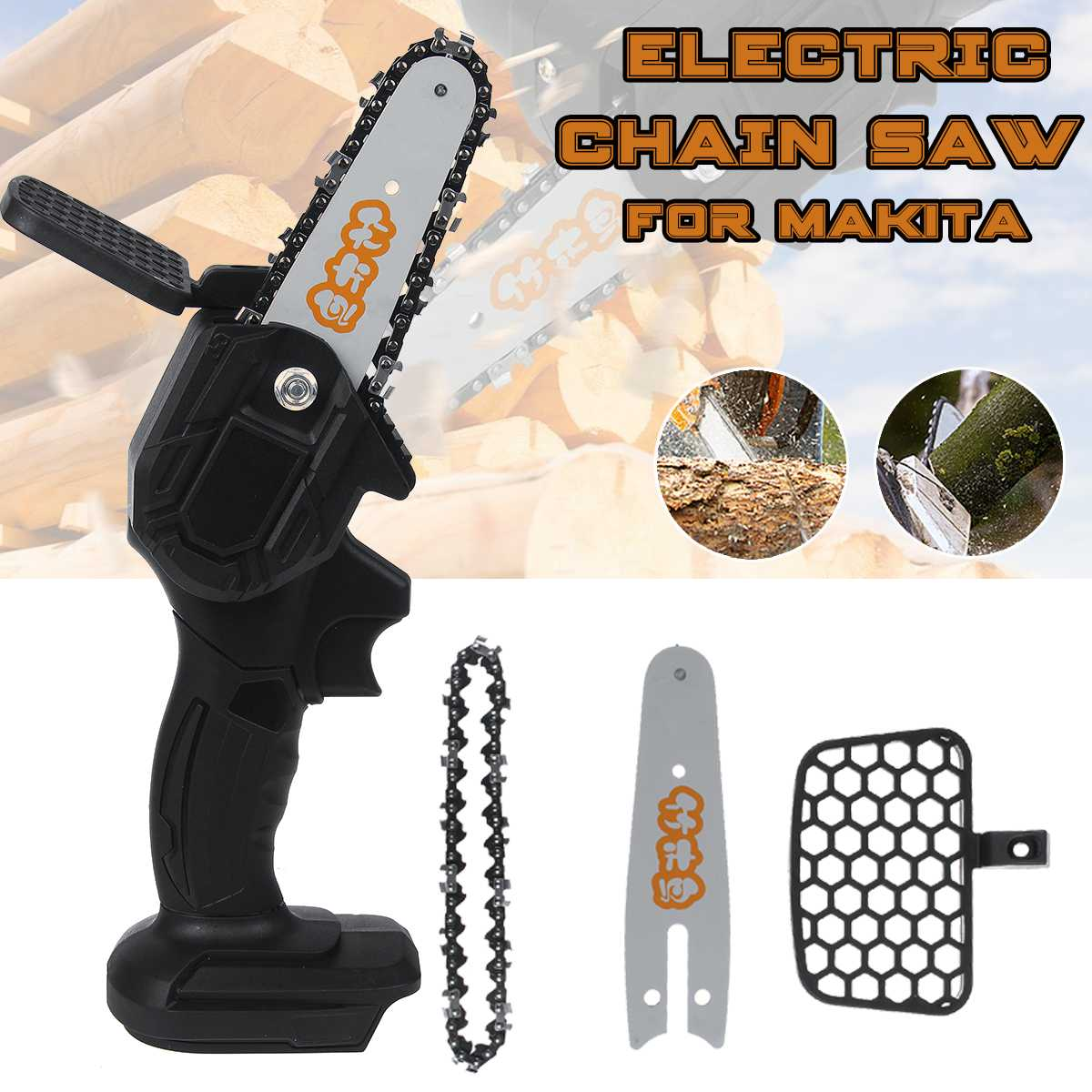 24V Electric Mini Chain Saws Pruning ChainSaw Cordless Garden Tree Logging Trimming Saw For Wood Cutting for Makita Battery