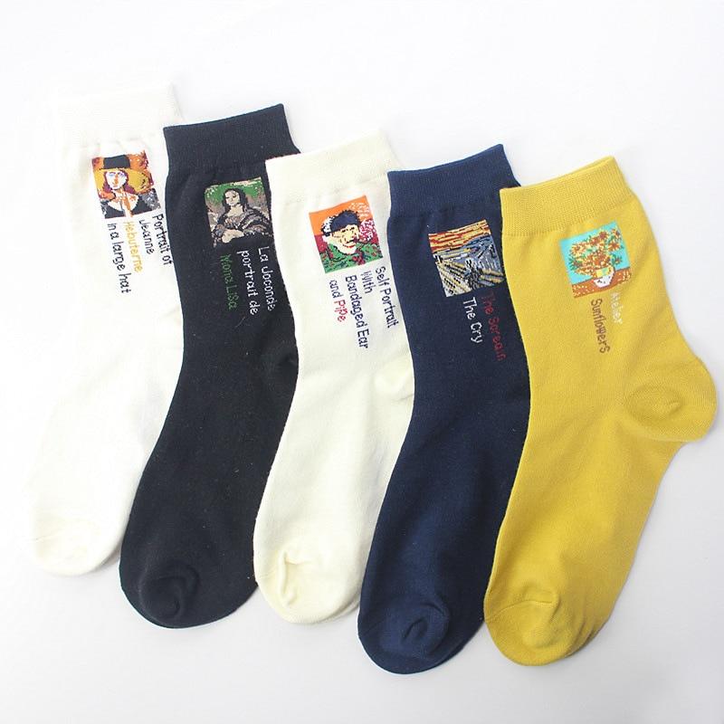 The New Oil Painting Socks The World Famous Painting Mona Lisa Socks Cotton European And American Tide Socks