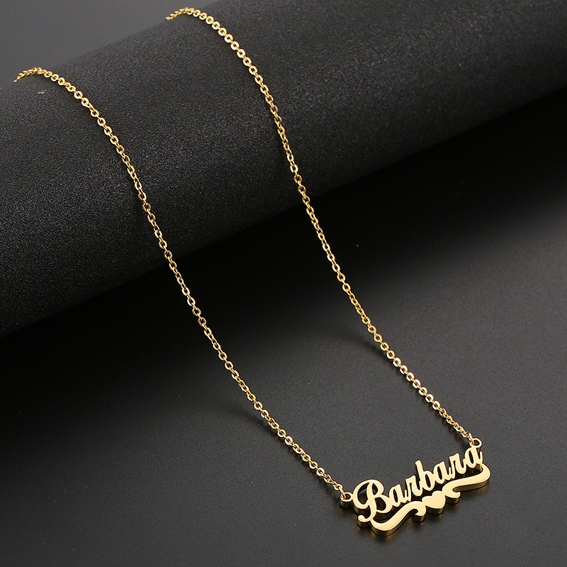 Custom Name Necklace Personalized Couple Heart Pendant Gold Stainless Steel Chain Necklace Wedding Gift for Women SKQIR Jewelry