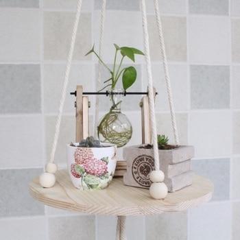New 25Cm Diameter Wooden Hanging Waterproof Round Flower Plant Pot Tray Garden Planting Indoor Plant Holder Home Decoration Tool