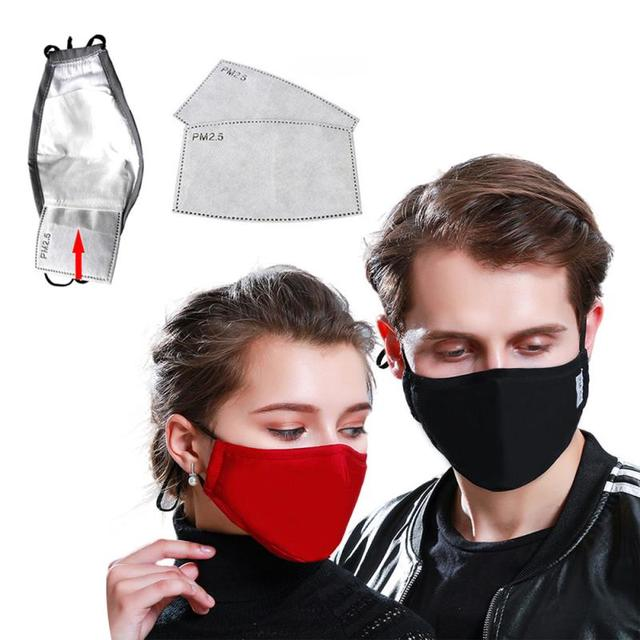 Cotton PM2.5 Black mouth Mask anti dust mask Activated carbon filter Windproof Mouth-muffle bacteria proof Flu Face masks 5