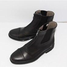 Полностью кожаные ботинки для верховой езды; 1 пара; Мужская и женская качественная обувь на молнии спереди; черные полусапоги для верховой езды