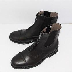 Botas para montar a caballo de cuero completo, 1 par, para hombre y mujer, zapatos de silla de montar de calidad con cremallera frontal, Protector de pantorrilla negro, botas cortas ecuestres