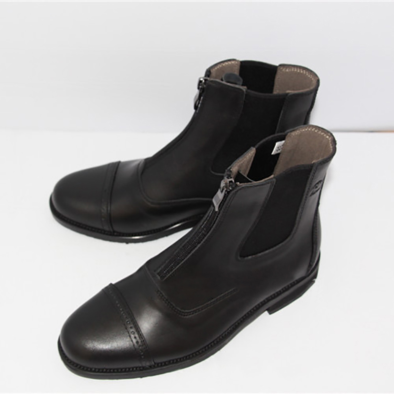 Full Leather Horse Riding Boots 1 Pair Men Women Front Zipper Quality Saddle Shoes Black Calf Protector Equestrian Short Boots