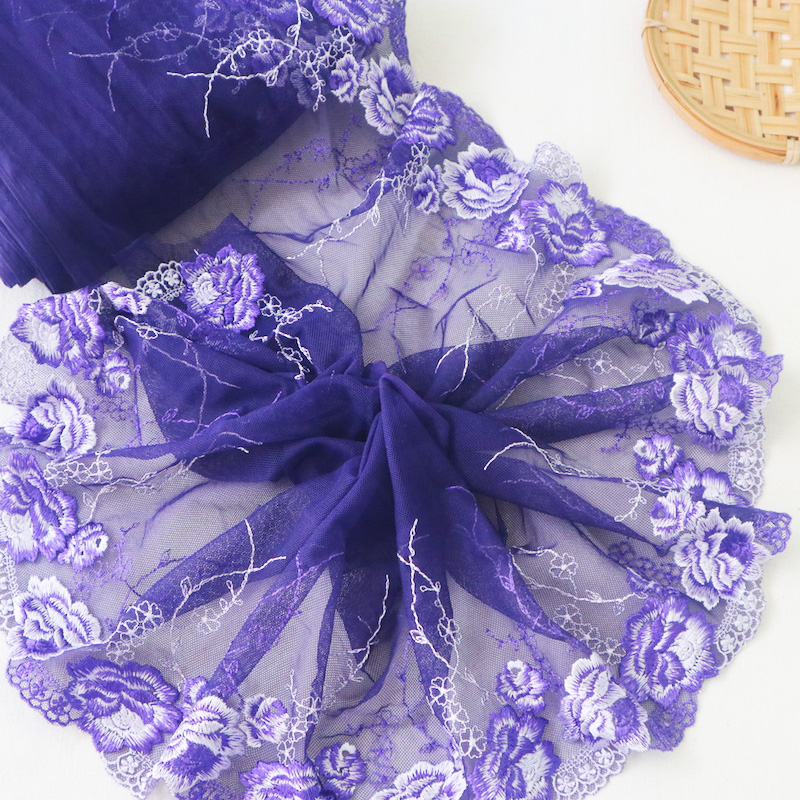 2Yards 19cm Wide Purple Flower Embroidery Delicate Mesh Lace Trims Dress DIY Handmade Lace Fabric YLHB227