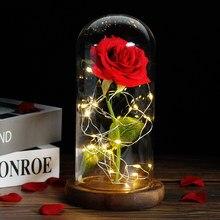 Rose sous dôme de verre LED, sous forme de la belle et la bête, pour la saint-valentin, cadeau romantique spécial pour la fête des mères, rouge