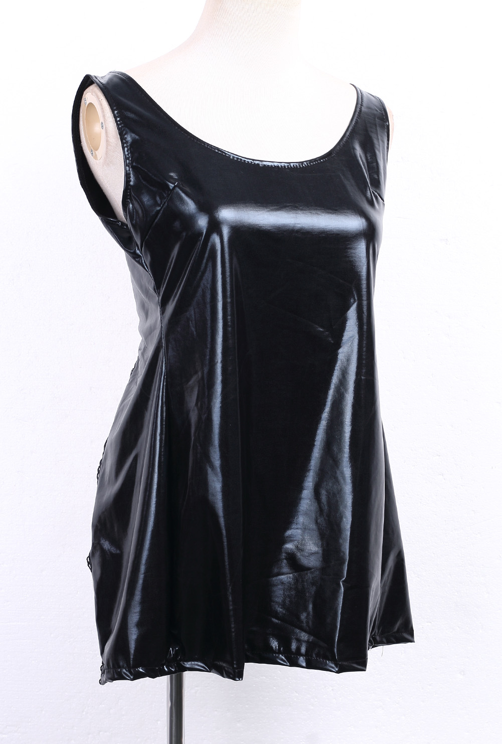 Сексуальные женщины ПВХ искусственная кожа мокрой вид мини Bodycon платье нижнее белье Клубная одежда