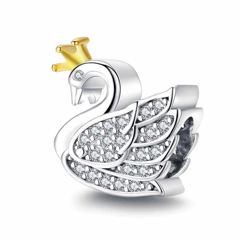 2019 novo 925 grânulos de prata esterlina princesa cisne encantos caber pandora original pulseiras feminino jóias diy