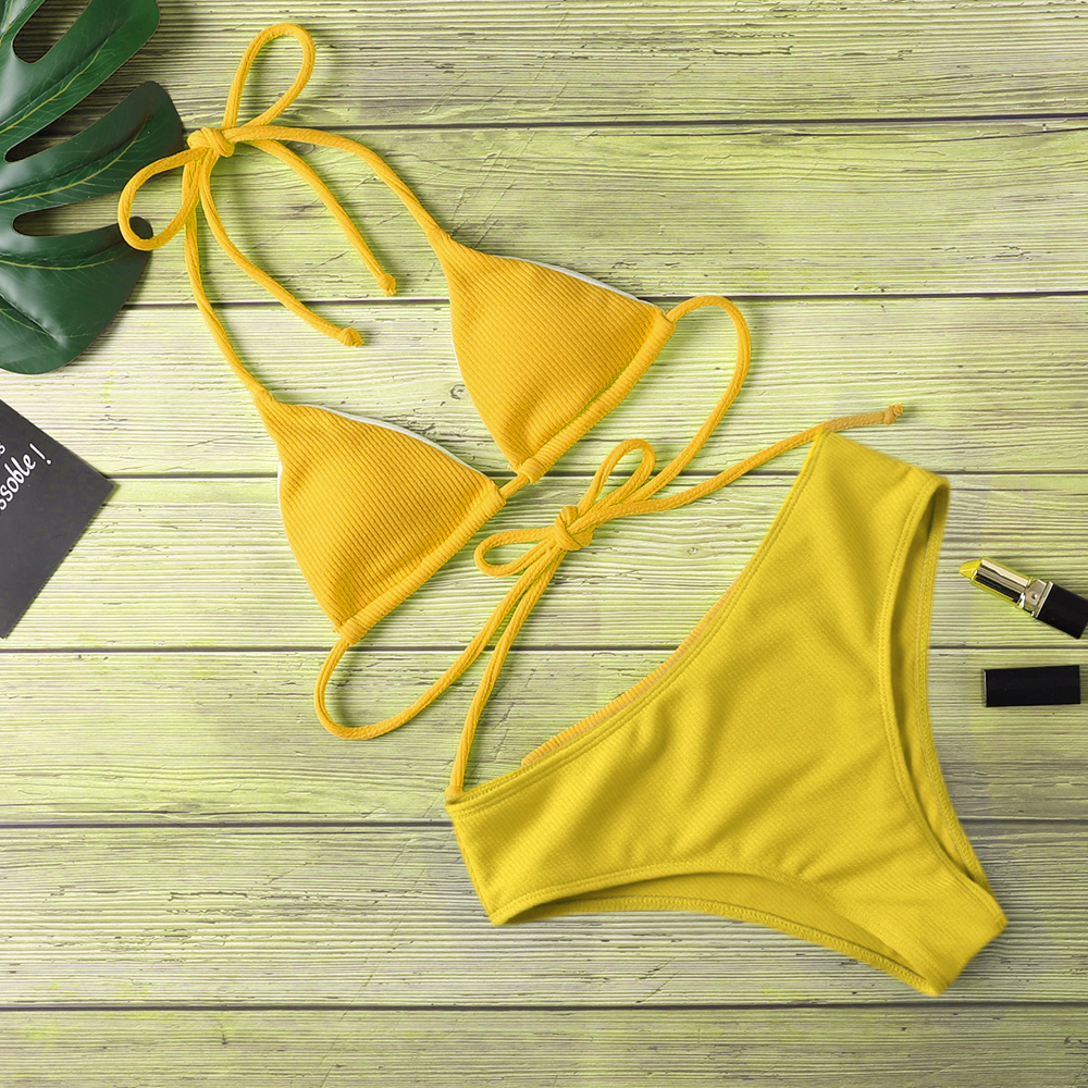 New Bikini Women Swimwear  High Waist  Sexy Bikini Pure Color Women Swimsuit Padded Bathing Suit Tight Fitting Bathing Suit