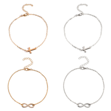 4 Pcs/ Set Simple Gold Silver Alloy Infinity Cross Anklets Women Fashion Adjustable Ankle Foot Bracelets for
