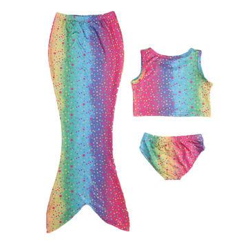 4-8T Kids Girls Mermaid Tail Bikini Swimwear 3Pcs Costumes Swimsuit Beachwear 2020 Summer Flippers Bathing Suit tanie i dobre opinie hirigin Poliester spandex Dziewczyny Mermaid Swimwear Pasuje prawda na wymiar weź swój normalny rozmiar Cartoon