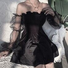 Gothique noir Sexy 2020 femmes Slash cou maille épissure évider bouffée à manches longues Mini robe Goth Punk épaules nues robes de soirée