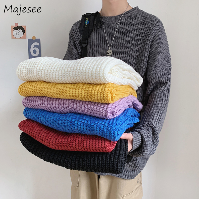 Mens Thicken High Collar Knit Sweater Baggy Warm Korean Style New Pullover 2019