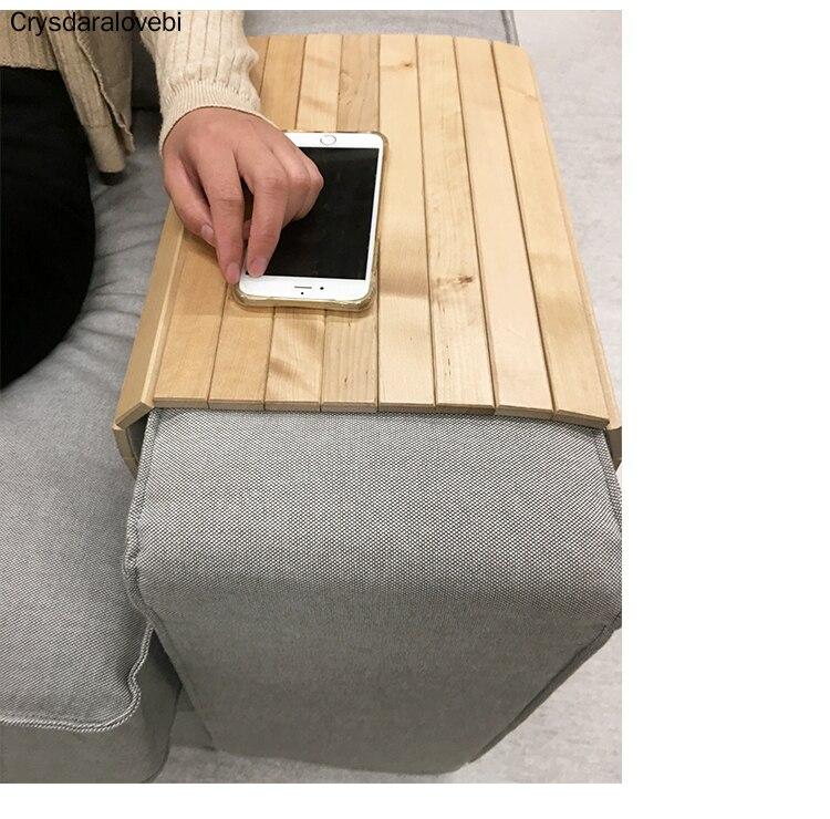 Plateau de canapé en bois naturel roue de Table canapé pliant accoudoir plateau bambou Slip Coaster coussin d'isolation