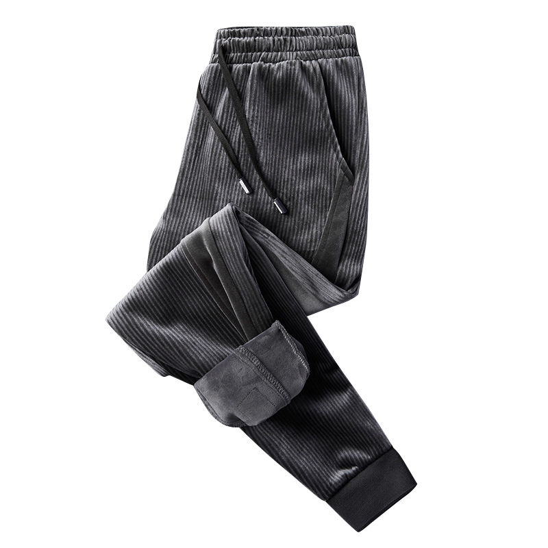 New Corduroy Pants Men Fashion Pants Fleece Beam Closed The Feet Elastic Waist Casual Velvet Thicken Men's Trousers