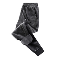 New Corduroy Pants Men Fashion Pants Fleece Beam Closed The Feet Elastic Waist Casual Velvet Thicken Men's Trousers