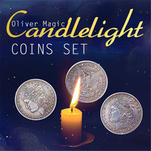 Candlelight Coins Set(1 flipper coin+1 expanded shell+ 3 morgan dollars) Magic Tricks Stage Magia Illusions Gimmick Props