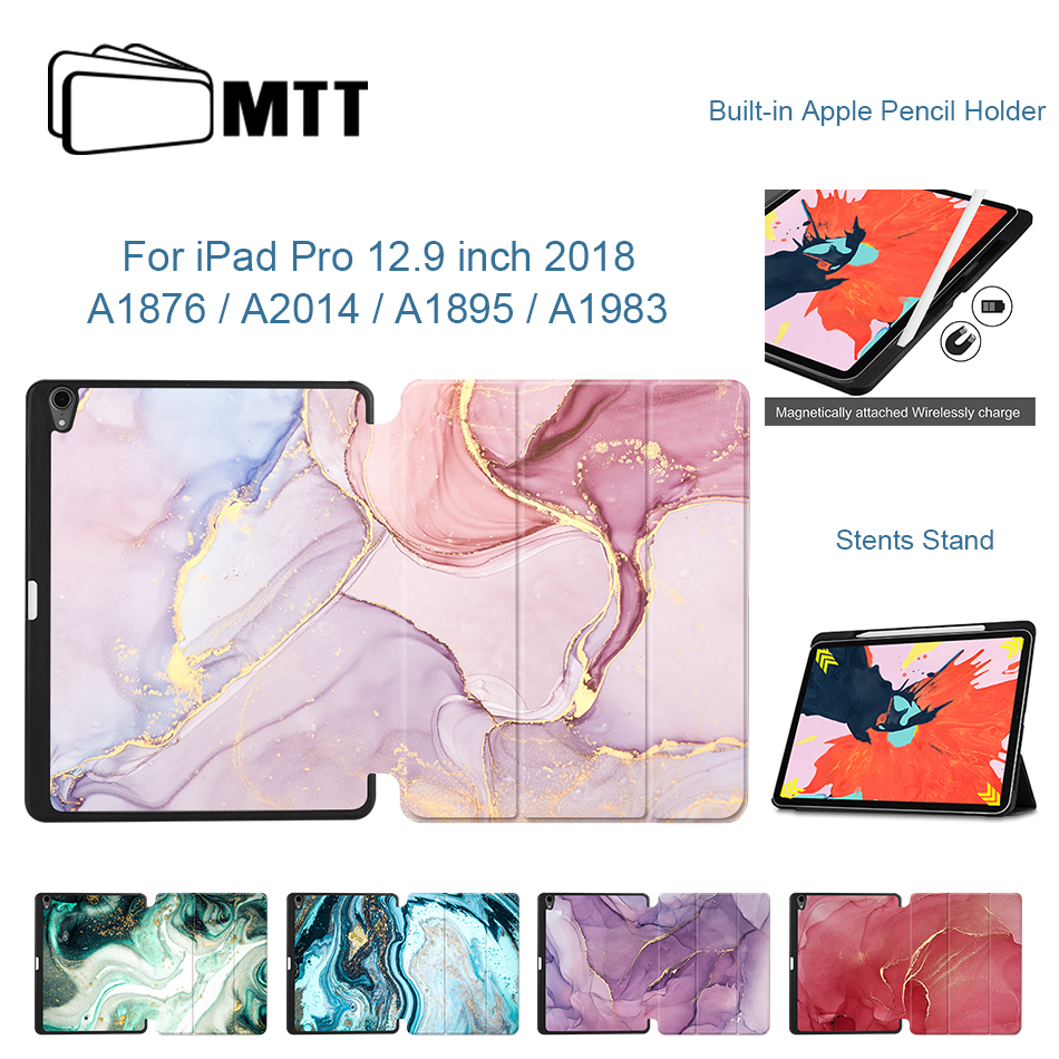 MTT Marble PU Leather Case For IPad Pro 12.9 Inch 3rd Gen 2018 Release Magnetic Flip Stand Cover Tablet Case With Pencil Holder