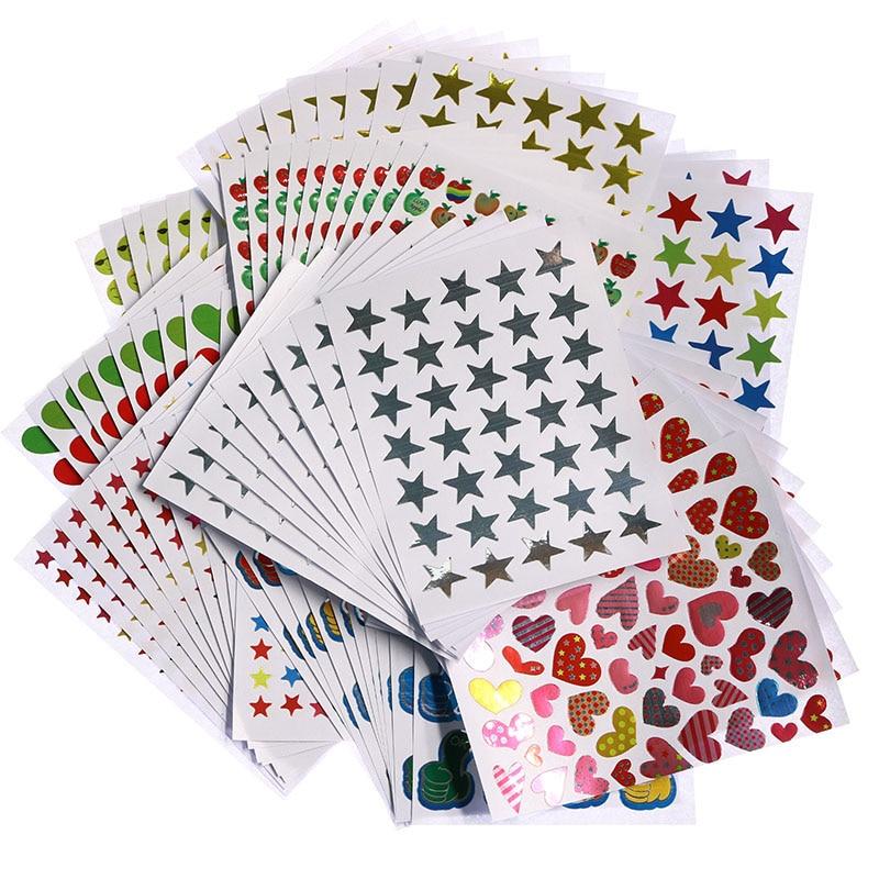 10pc/bag, Child Gilding Reward Flash Sticker Mother Teacher Praise Label Award Five-pointed Star Smiley Face Gold Sticker