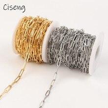1 medidor/rolo 12x4mm grandes cadeias diy aço inoxidável colar link correntes colares feminino e masculino para jóias fazendo descobertas