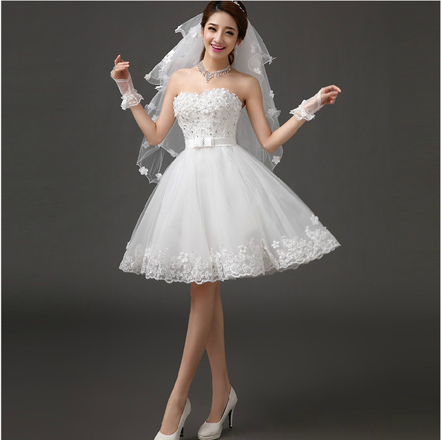 New white short knee length lady girl fairy wedding bridal dress party evening dancing performance dress free shipping 3