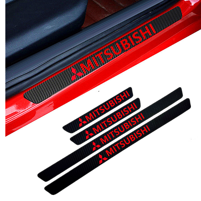 Car-Styling 4PCS Carbon Fiber Door Sill Carbon Fiber Sticker Decals For Mitsubishi Asx Outlander Xl 3 Lancer Pajero 4 L200