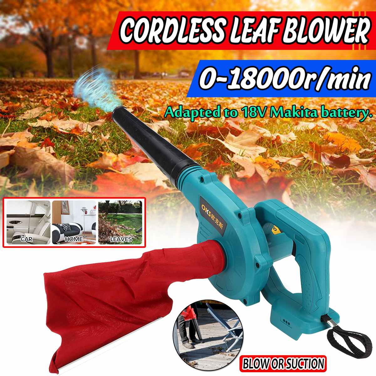 Blower & Suction Cordless Electric Air Blower Handheld Leaf Computer Dust Collector Cleaner Tool For Makita 18V Li-ion Battery