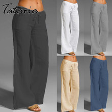 Calças de algodão feminino cinza cintura alta harém solto macio elástico cintura branca verão azul casual 2021 calças para o sexo feminino